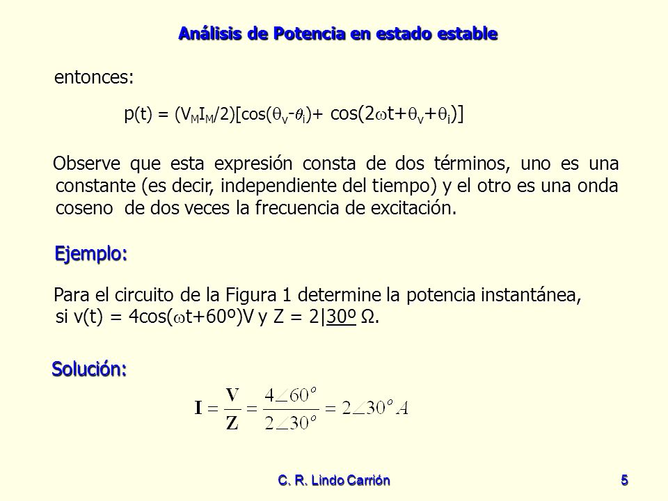 p(t) = (VMIM/2)[cos(v-i)+ cos(2t+v+i)]